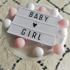 pamučne lampice baby girl roza bijele hanksome hr