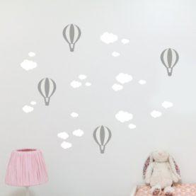 zidna naljepnica oblaci i baloni bijelo siva