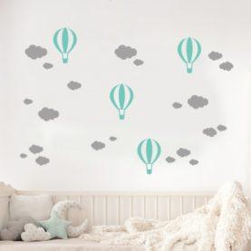 zidna naljepnica baloni i oblaci mint-siva