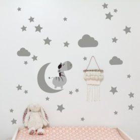 zidna naljepnica luna i zvijezde siva