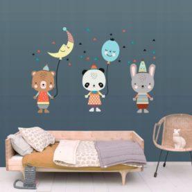 Zidna naljepnica Životinje s balonima XL