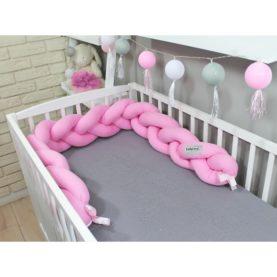 Pletenica za dječji krevetić Svijetlo ružičasta