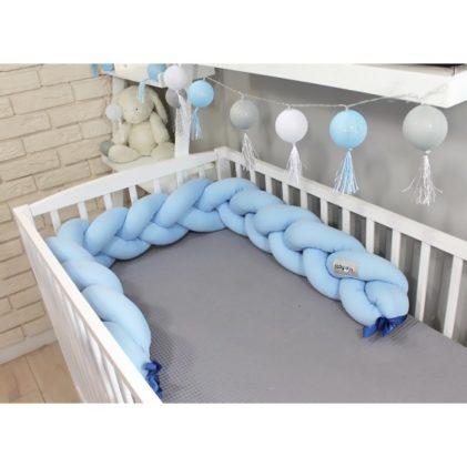 Pletenica za dječji krevetić Svijetlo plava