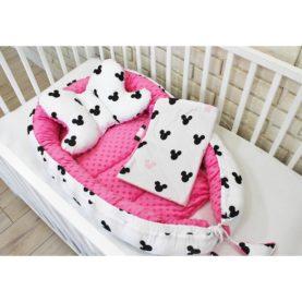 Gnijezdo, jastuk i pokrivač za bebe RUŽIČASTI MIŠ