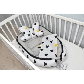 Gnijezdo, jastuk i pokrivač za bebe ŽUTA MIŠ